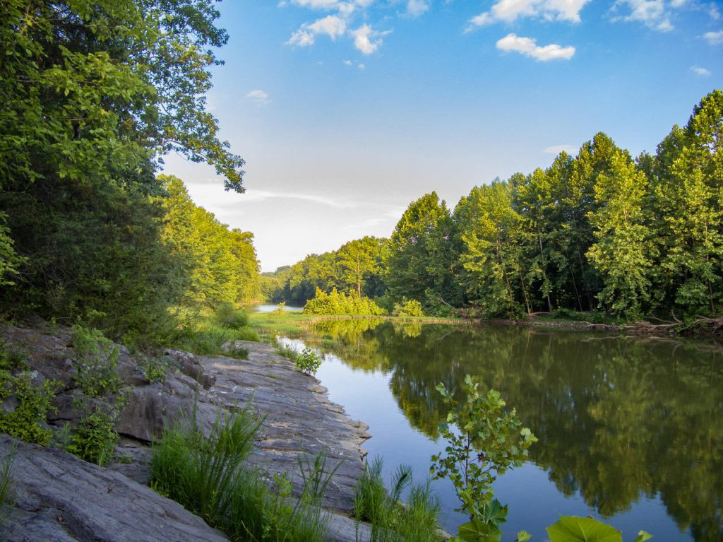 Maury River scene with rocks, trees, reflections